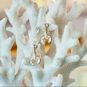 Sterling silver lobster earrings